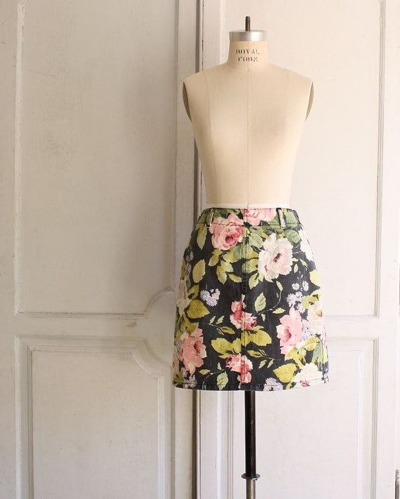 reserved .  80s floral denim skirt by Bongo . maxi print mini skirt