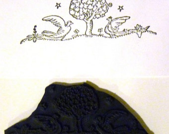 Vintage Jacobean Style Birds Beneath Tree - New UM Rubber Stamp - Cards - ATCs - Crafts - Scrapbooks - FREE SHIPPING