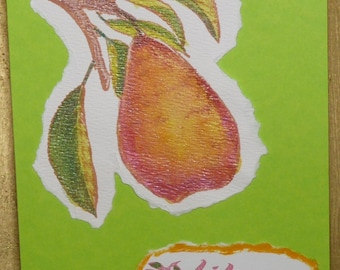 Life is Sweet - Handmade Birthday Card - Hand-Watercolored Pear - FREE Shipping