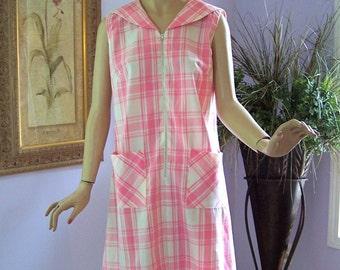 Vintage 60s Day Dress Pink White Cotton Plaid Dress w Sailor Collar