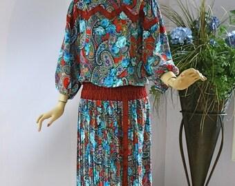 Vintage 80s Dress Diane Fres Original Colorful Floral Georgette Dress
