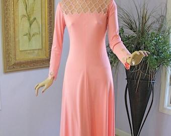 Vintage 60s Party Formal Dress, Sparkling Rhinestone Sheer Bodice Pink Maxi Dress