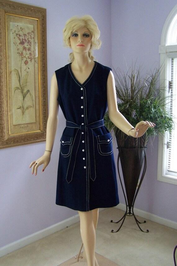Vintage 70s Dress R K Knits Navy Jumper Shift Sleeveless Dress w Belt