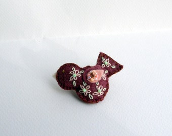 Small Handmade Felt Brooch or Pin - Little Bird in Wine with Floral Embroidered and Beaded Embellishments in Pink and Green