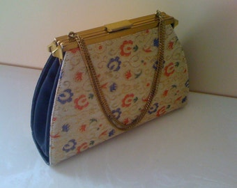 Sale Vintage 50s Silk Embroidered Convertible Handbag/ Purse Edwards Bags 1957 US Patent / 3 Ways Day To Night Reversible-