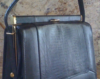 Todays Sale Vintage Handbag, Black Purse- 50s Kelly Bag, Black Evening Bag- Faux Lizard Skin Leather Purse