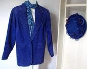 Vintage Jacket Blue Suede Jacket 1980's Leather Coat Suede Blazer Lindsey Blake Outerwear