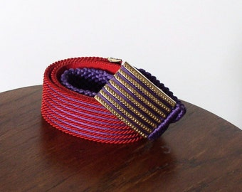Vintage Belt Colorful Macrame Cinch Hip Hugger Rope Colorful Reds and Purples  Gutos Buckle 1970s 30 Inch