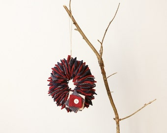 READY TO SHIP Upcycled Felt Scrap Mini Wreath Ornament in Navy, Grey and Red