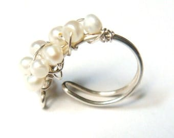 Pearl Ear Cuff - Wire Wrap Ear Cuff - Sterling Silver Ear Cuff