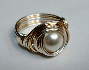 Swarovski White Pearl Ring  Glass Pearl Ring Sterling Silver and 14K Gold Filled Ring  Wire Wrapped Ring  Pearl Ring  14K Gold  Silver