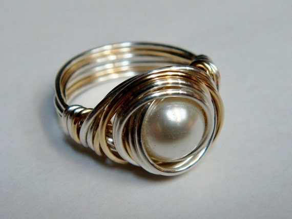 White Pearl Ring   Glass Pearl Ring Sterling Silver and 14K Gold Filled Ring   Wire Wrapped Ring    Etsy Jewelry