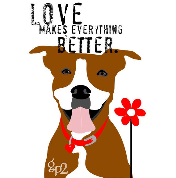 Pit bull Love Dog Art Print Wall Decor