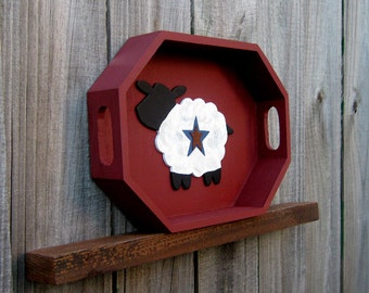 Wood Tray, Decorative Tray, Painted Wood, White Sheep, Primitive Tray, Octagon, Home Decor, Farmhouse Decor, Rustic, Country Decor, Barn Red