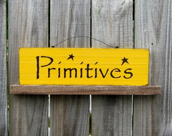 Primitives Sign, Painted Wood Sign, Primitive, Aged, Rustic Sign, Country Decor, Yellow, Black Lettering, Black Stars