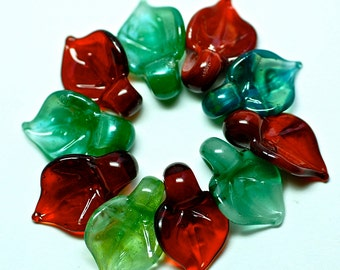 SALE handmade lampwork glass beads christmas wreath leaves by Paulbead set of 10 red and green boro glass beads