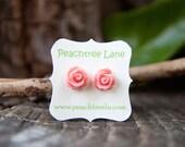 Soft Pale Pink Rose Flower Post Earrings // Bridesmaid Gifts // Maid Of Honor Gifts // Bridesmaid Earrings