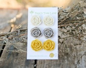 ENTIRE SHOP SALE (See shop announcement) Large Mustard Yellow Rose Earrings // Cream Rose Flower Earrings // Grey Posts // Bridesmaid Gifts