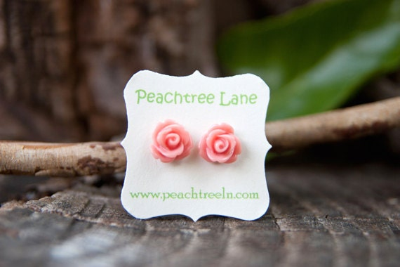 BLACK FRIDAY SALE   Soft Pale Pink Rose Flower Post Earrings // Bridesmaid Gifts // Rustic Vintage Wedding