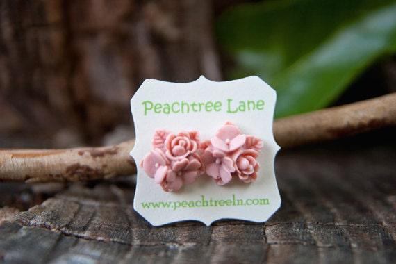 Pale Soft Pink Rose Flower Stud Earrings // Bridesmaid Gifts // Vintage Wedding
