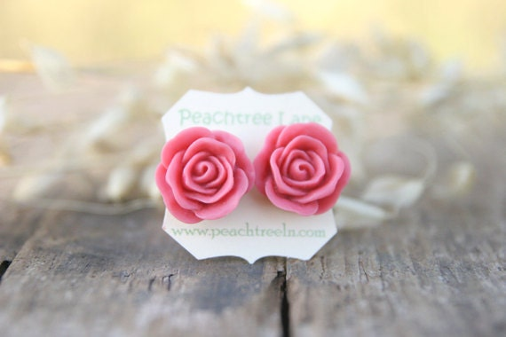 Large Dusty Pink Rose Post Earrings // Bridesmaid Gifts // Rustic Vintage Wedding