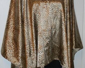 Leopard Print Satin Poncho