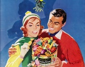 1957 candy ad Mackintosh's Quality Street vintage sweets Christmas advert / Schweppes on back / holiday decor to frame - Free U.S. shipping