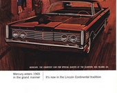 1965 ad Lincoln Mercury classic car retro automobilia Mad Men Rat Pack style burgundy red cool wall decor for framing - Free U.S. shipping