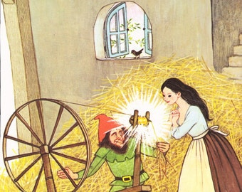 1970s Rumpelstiltskin illustration page Gyo Fujikawa straw gold spinning wheel fairy tale retro wall art cute for framing - Free US shipping