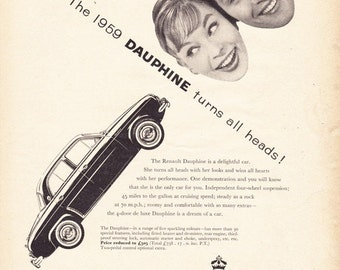 1959 ad RENAULT DAUPHINE classic retro auto advert car automobilia Mad Men era black and white wall decor for framing - Free U.S. shipping