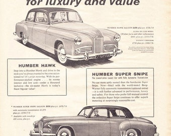 1956 ad Humber Hawk and Super Snipe classic car auto advert automobilia Rootes Motors retro black and white for framing - Free U.S. shipping