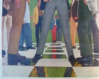 1961 ad Slacks made from Pacific Fabrics retro fashion pants menswear male models Mad Men era textile ephemera to frame - Free U.S. shipping