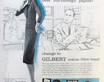 1961 ad Office Stress cured by Gilbert Paper vintage secretary boss Mad Men retro typist typing blue gray for framing - Free U.S. shipping