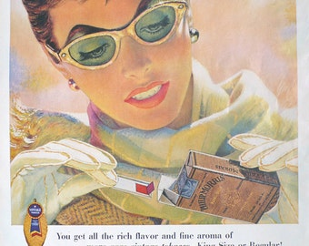 1954 ad Philip Morris Cigarettes snap open pack cat eye sunglasses Aunt Jemima Pancakes on back Mad Men era tobacciana - Free U.S. shipping