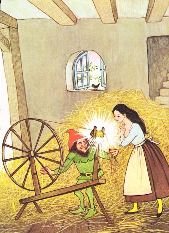 1970s Rumpelstiltskin illustration page Gyo Fujikawa straw gold spinning wheel fairy tale retro wall art cute for framing - Free US shipping