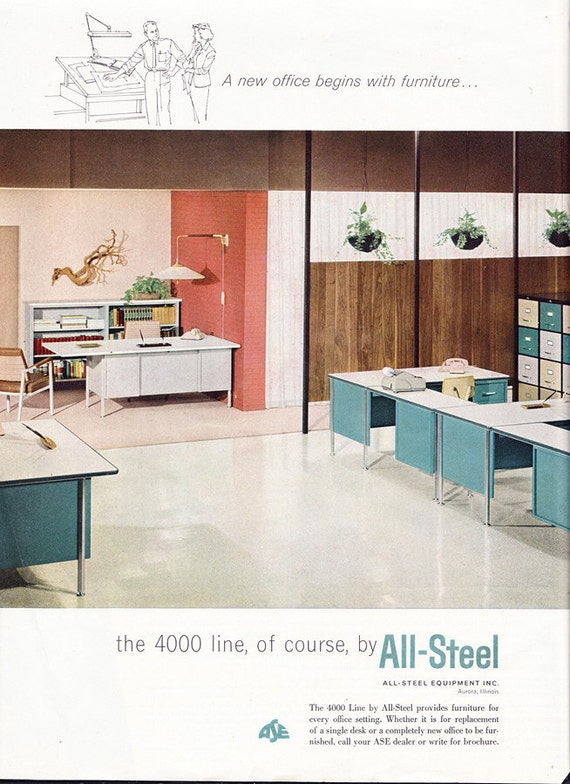 Vintage ad All-Steel 4000 Line office furniture ca. 1960 desk Mad Men era - Free U.S. shipping