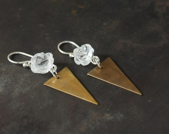 Variation on a Theme - Brass Triangle Drop Earrings with Carved Rock Crystal Rose