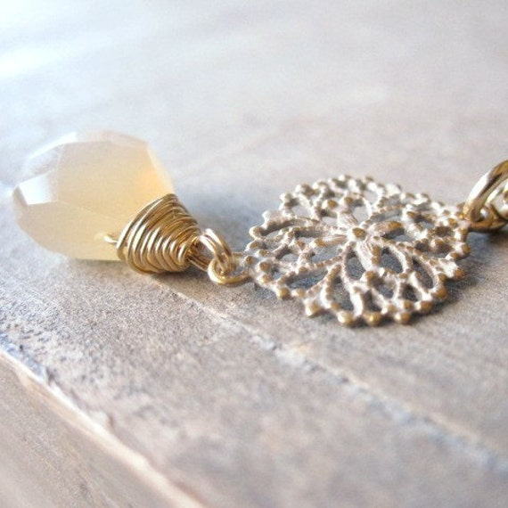 Peach Moonstone Necklace Gold Necklace Moonstone by LexiandGem
