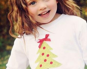 Girls Christmas Shirt or Bodysuit, Christmas Tree, Monogrammed
