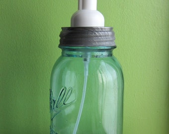 Upcycled Blue Ball Mason Quart Jar Foaming Soap Dispenser