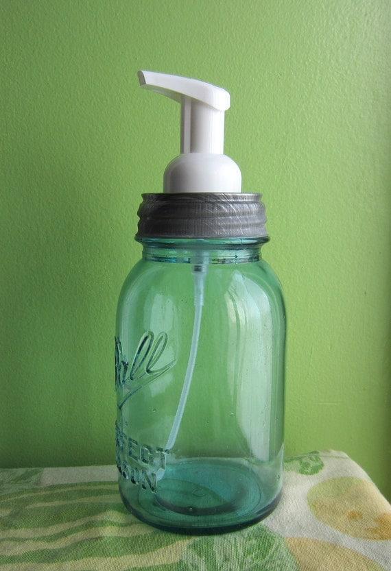 Upcycled Blue Ball Mason Quart Jar Foaming Soap Dispenser