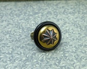 Vintage Button Ring Black with Brass Star Goth Victorian Style Adjustable Ring Size 6 to 8 One of a Kind Steampunk Fantasy