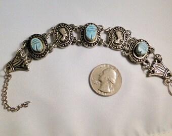SALE Egyptian Revival 1960s Silver Tone Scarab Bracelet Pharaoh Nefertiti Vintage