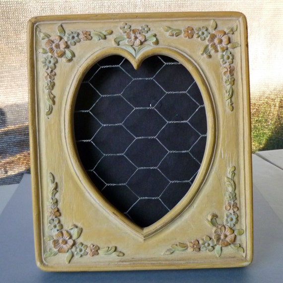 Yellow Jewelry Display Earring Holder Vintage Picture Frame Heart Flowers Cream Table Top Stand Rack Recycled Upcycled Unique Wire