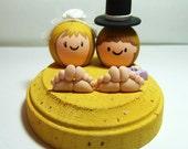 CUSTOM Beach Wedding Cake Topper - Beach Bride & Groom in the Sand - Handmade by The Happy Acorn