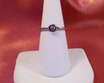 Vintage Pink Rhinestone Flower Ring