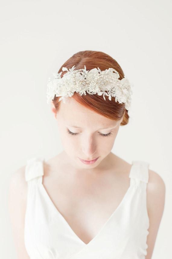 Bridal Headband, Crystal Headpiece, Bridal Headpiece, Lace Headband, Floral Headpiece, Lace Headpiece, Wedding Headband - Heart's Desire