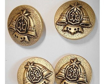 Buttons/ Set of 4- Goldtone Shank/ Craft Supplies/(#023)*