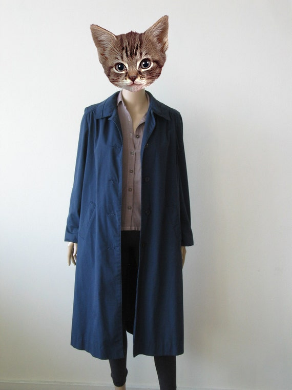 70s Navy Blue Trench Coat A-Line 80s Punk Stoner Love and Rockets