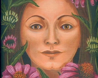 Woman with Purple Coneflowers Echinacea ORIGINAL PAINTING oil on linen pink flower herb plant spirit gift for gardener - Free USA shipping